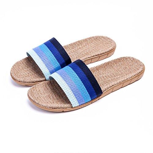 Unisex Slides Blue Casual Shoes Breathable Men's Home Slipper Slippers Sandals Women Linen strip Indoor Flat HRFEER vqxBRPaw