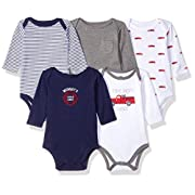Hudson Baby Baby Infant Long Sleeve Bodysuit 5 Pack, Fire Trucks, 0-3 Months