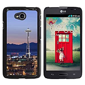 Graphic4You Seattle Washington USA Postcard Design Thin Slim Rigid Hard Case Cover for LG Optimus L70 Dual