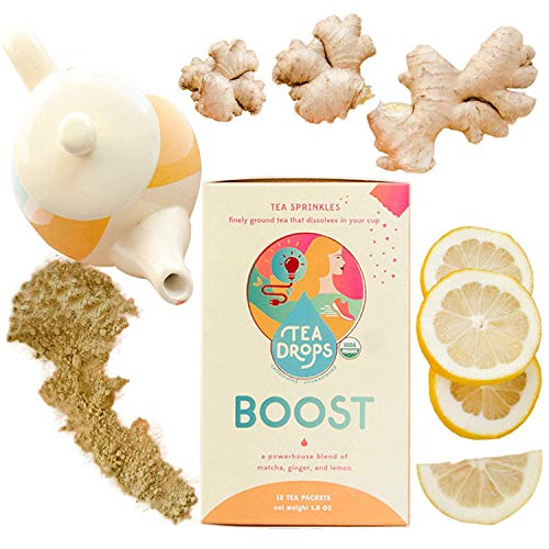 BOOST Tea Sprinkles Energy Tea: A Powerhouse Blend of Matcha, Ginger, and Lemon | Great for Mood, Concentration, Metabolism | 12-Servings Healthier Alternative to Coffee