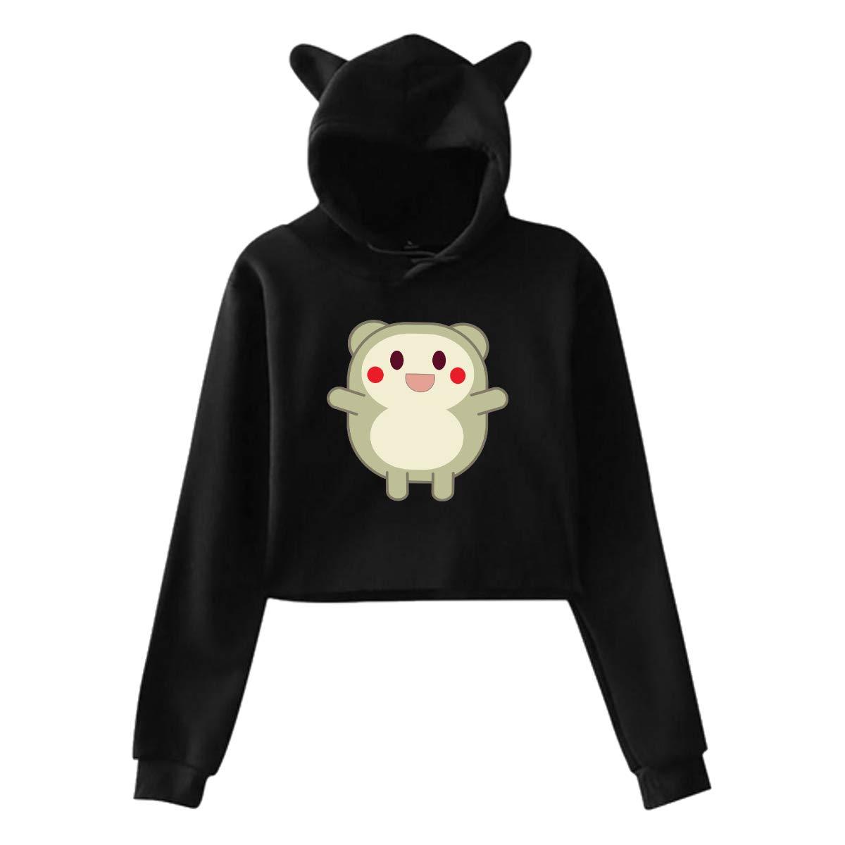 Womens Long Sleeve Crop Top Hoodies Cute Critter Cat Ear Lumbar Hoodie Pullover Sweater