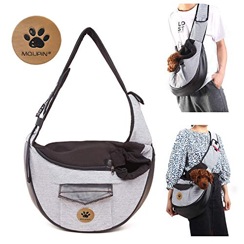 MQUPIN Pet Carrier Dog Cat Small Puppy Shoulder Bag Travel Tote Hands Free Collapsible Sling Backpack, Grey