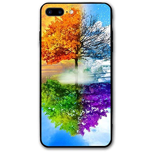 CHUFZSD Four Seasons Tree iPhone 7/8 Plus Case Soft Flexible TPU Anti Scratch Shock-Proof Protective Shell Compatible Phone Case Cover (5.5 Inch) ()