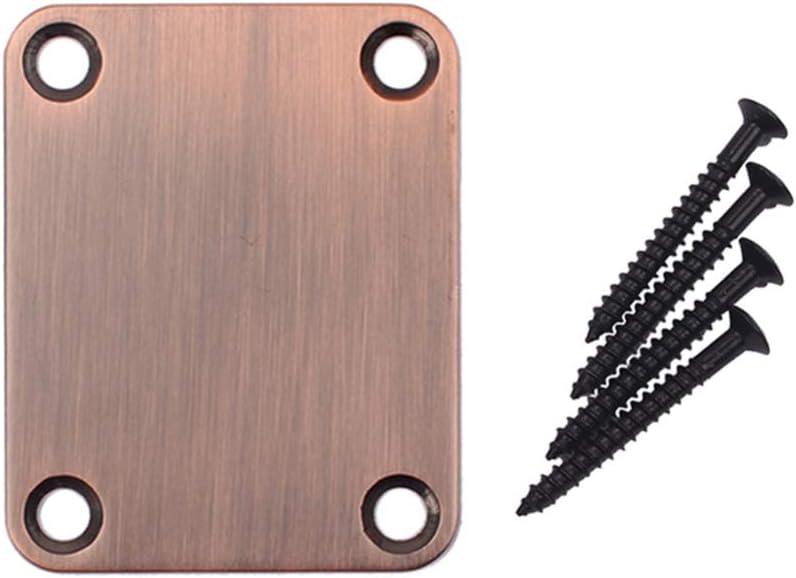 Bronze Milisten 2pcs Electric Guitar Neck Plates with 4pcs Screws for Strat Tele Guitar Jazz Bass Replacement Parts Accessories