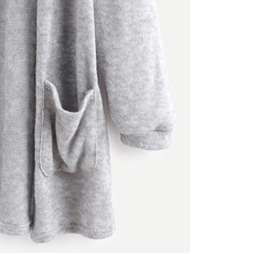 HARRYSTORE Simple Mujeres Otoño manga larga Tops blusa suelta larga chaqueta de rebeca chaqueta color sólido Outwear Gris