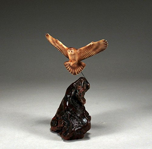 Owl Sculpture in Flight by John Perry Airbrushed 5in Wingspan (Wingspan Air)