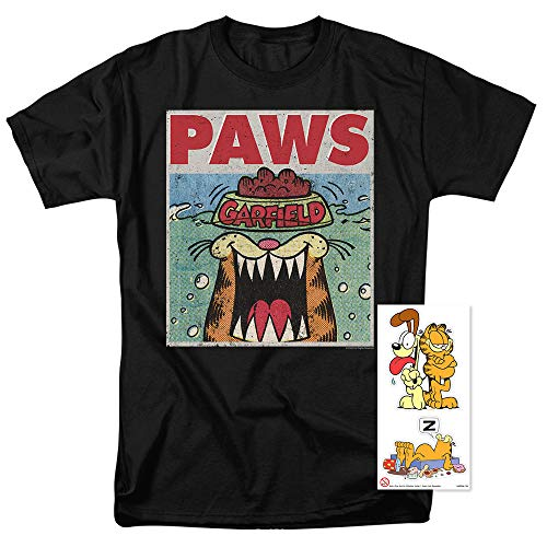 Garfield Paws Jaws Parody T Shirt & Stickers (Medium) -
