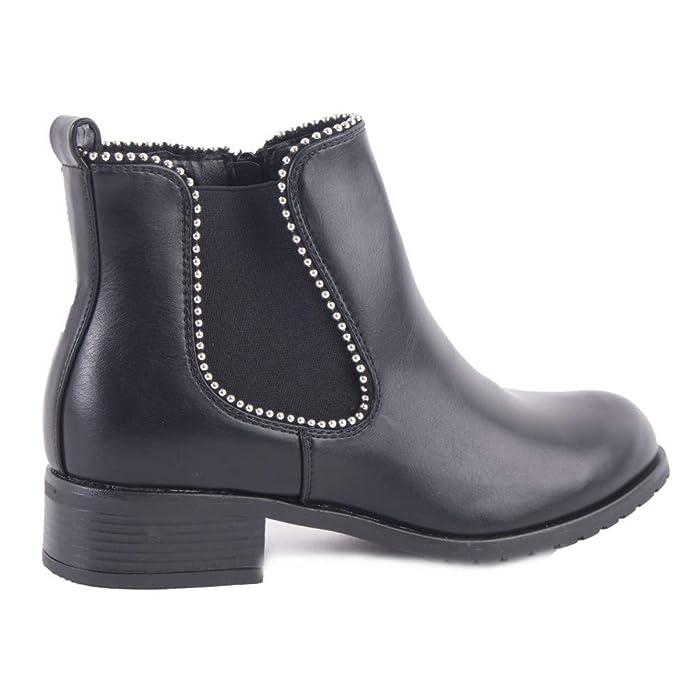 030b529d8a521b Primtex Bottines Chelsea Femme Noir avec Clous Perles argenté élastique  latéral et Zip en Simili cuir-39: Amazon.fr: Chaussures et Sacs