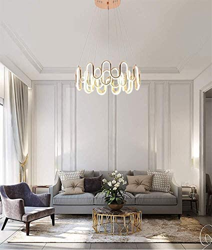 H.Y.BBYH Pendelleuchte Moderne LED Kronleuchter höhenverstellbare Aluminium 3 Turns warme Beleuchtung Kronleuchter Leuchter