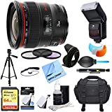 Canon (2750B002) EF 24mm f/1.4L II USM Lens w/ Ultimate Accessory Bundle includes Lens, 64GB Extreme SD Memory Card, Flash, Flash Cover, Tripod, 77mm Filter Kit, Lens Hood, Bag, Cleaning Kit, & More