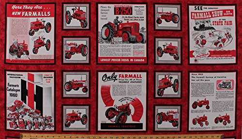 """23.5"""" X 44"""" Panel Farmall Show Tractors International Harvester Vintage Ads Advertisements Catalogs Posters Agriculture Red Cotton Fabric Panel (1649-26451-R)"""