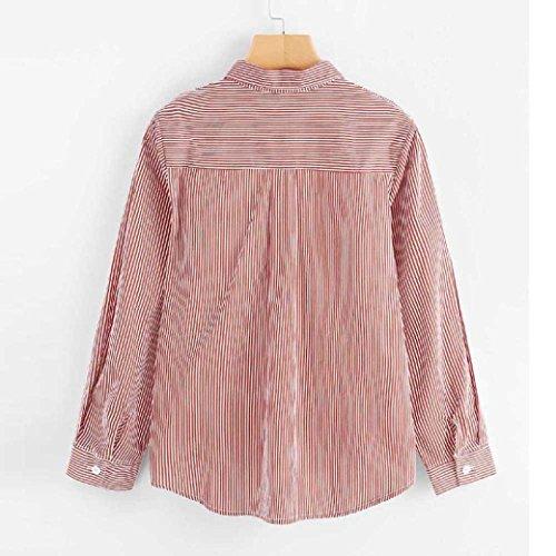 Casuali Rosa Elegante Donna Maglietta Camicia Cotone Honestyi Vintage Lunghe Da Maniche Tops Blusa In Camicetta A wXYX0vZ