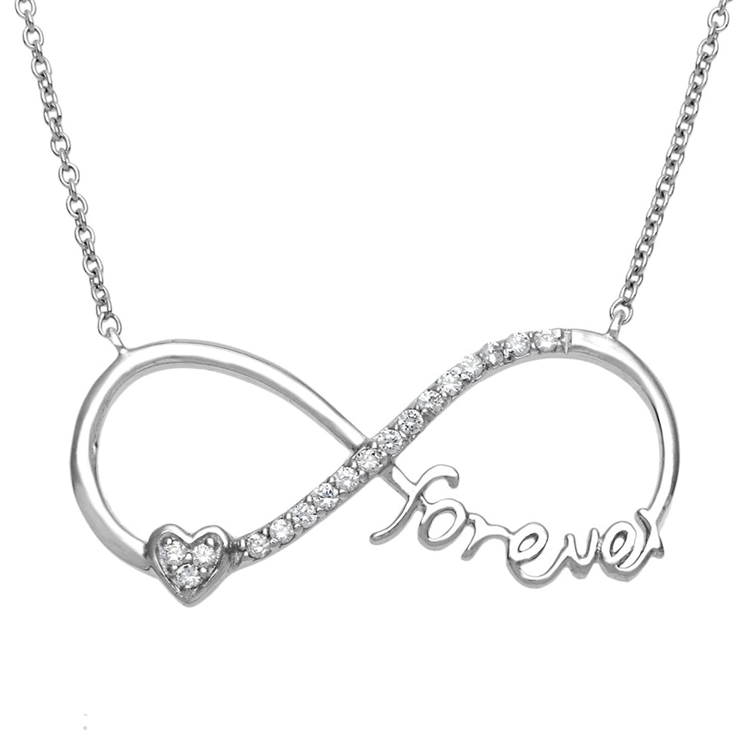 "Amazon Sterling Silver 16 2"" ""Forever"" Heart CZ Infinity"