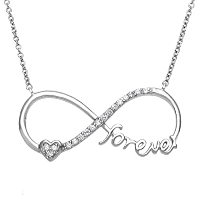 forever heart sizes name web necklace one product two julia hearts silver
