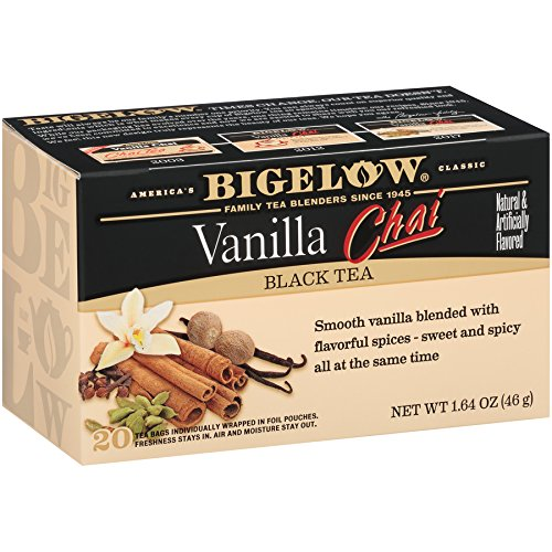 (Bigelow Vanilla Chai Tea Bags 20-Count Boxes (Pack of 6), 120 Tea Bags Total.  Caffeinated Individual Black Tea Bags, for Hot Tea or Iced Tea, Drink Plain or Sweetened with Honey or Sugar)