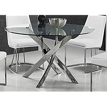 Casabianca Furniture Galaxy Collection Glass Dining Table, Chrome/Clear Part 84