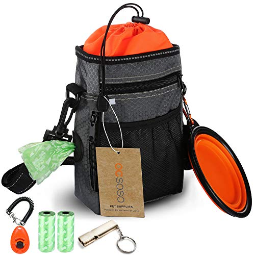 OCSOSO Dog Treat Pouch for Training Reflective Shoulder Strap Waist Belt with Poop Bag Holder, Doggie Clicker, Whistle, Collapsible Feeder Bowl, Poop Bag Waterproof Pouch Easily Carry Dog Food, Toys ... (Best Dog Food For Belgian Malinois)