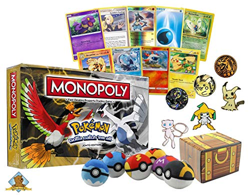 Pokemon Family Fun Bundle - Featuring Pokemon Monopoly Johto Edition! 50 Pokemon Cards - 1 Pokemon Collectible Pin - 1 Coin - 1 Random Pokeball Plush! Includes Golden Groundhog Treasure Chest Storage