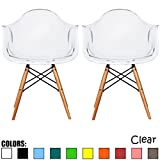 2xhome - Set of Two (2) - Clear - Eames Style Armchair Natural Wood Legs Eiffel Dining Room Chair - Lounge Chair Arm Chair Arms Chairs Seats Wooden Wood Leg Wire Leg Dowel Leg Legged Base Chrome