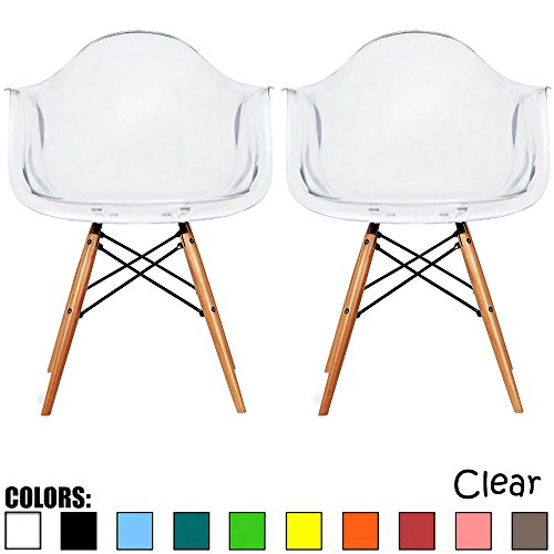 (2xhome Set of Two (2) - Plastic Armchair Natural Wood Legs Eiffel Dining Room Chair - Lounge Chair Arm Chair Arms Chairs Seats Wooden Wood Leg Wire Leg (Clear))