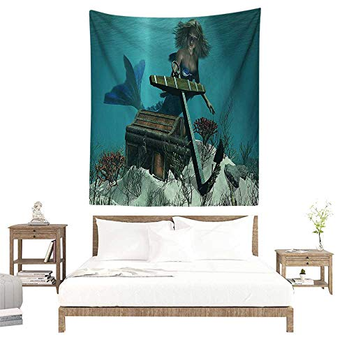 alisoso Wall Tapestries Hippie,Mermaid Decor,A Mermaid in The Ocean Sea Discovering Pirates Treasure Chest Mythical Art Print,Azure Brown Cream W55 x L55 inch Tapestry Wallpaper Home Decor