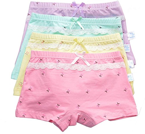 - Girls Boyshort Underwear Set Assorted Boxer Briefs 4-Pack L