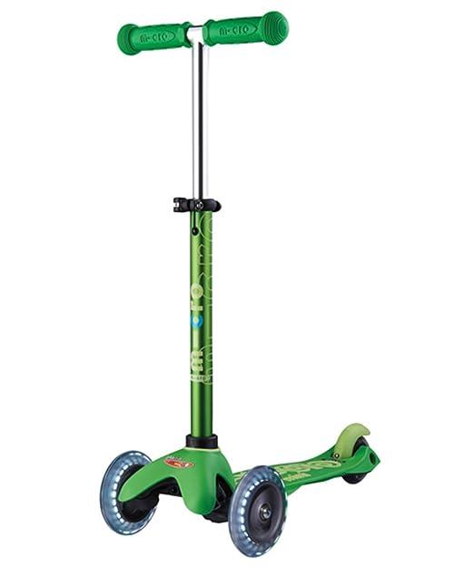 Mini Micro Deluxe LED, Verde MM0288 - Patinete 2-5años, Peso 1,90kg, Carga max 50kg, Rodamientos ABEC9, Iluminación ruedas