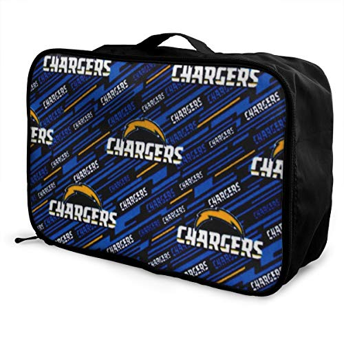 Vdsmcsadczx NFL Fleece Los Angeles Chargers Blue FabricTravel Carry-on Bag Lightly Foldable Storage Carry Luggage Trolley Bags
