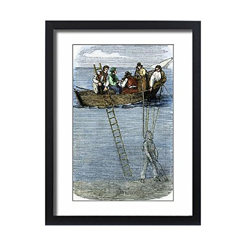 Media Storehouse Framed 24x18 Print of Diver collecting amber in the Baltic Sea, 1850s (5885529)