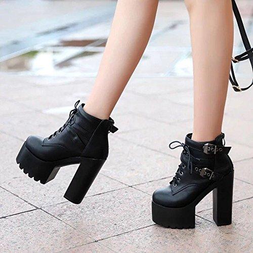 cabeza 14 XiaoGao redonda Black invierno botas antigua Martin la otoño cortas centímetros e botines y de botas en YxxAqCwPg