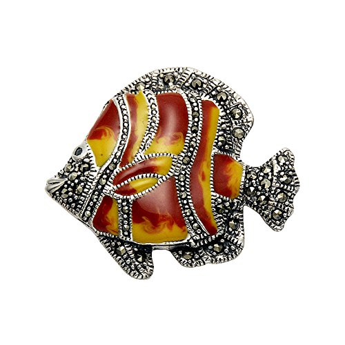 Wild Things Sterling Silver & Marcasite Tropical Fish Pin w/Gold & Red Enamel ()