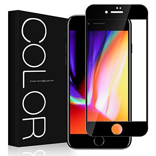 遺産受取人決済iphone 8 plus フィルム 3D 全面 G-Color iphone 8 plus ガラスフィルム 3D 曲面デザイン 3Dラウンドエッジ加工 iphone 8 plus 対応 5.5インチ 強化ガラス 98% 透過率 光沢 透明ケース付き (ブラック)