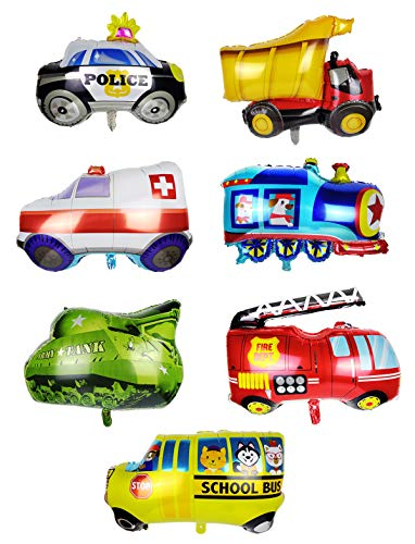 Pack of 7 Assorted Vehicle Theme Balloons Aluminum Foil Balloons Includes Construction Truck Train Tank Police Car Ambulance Fire Finding Truck School Bus for Kids Birthday Party Supplies Decoration]()
