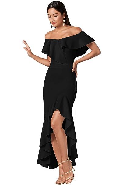 Amazon.com: Vestido de sirena alto bajo para mujer, vestido ...