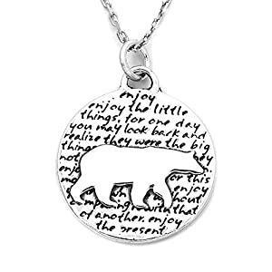 Kevin N Anna Bear (Enjoy quote) Sterling Silver Large Pendant Necklace
