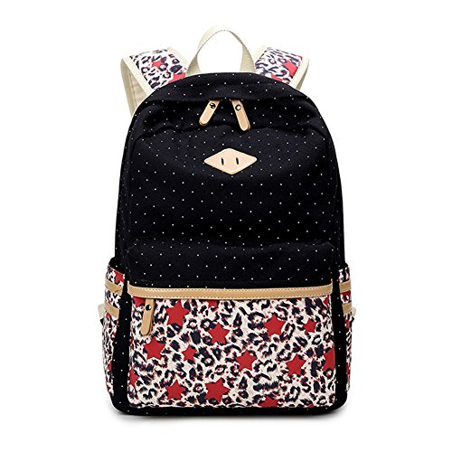 Abshoo Lightweight Canvas Cute Teen Girls Backpacks for School (Black)