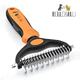 Dog Grooming Brush BELLE&BLU Undercoat Rake for Cats & Dogs | Deshedding Tool, Cat Comb | Dramatically Reduces Shedding, Eliminate Mats & Tangles | For Short to Long Hair Breeds