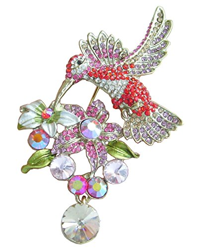 Animal Pendant Hummingbird Brooch Pin Rhinestone Crystal BZ6385 (Gold-Tone Multi) ()