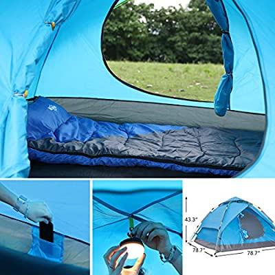 Wantdo 2-3 Person Automatic Instant Tent Pop Up Family Camping Tent Backpacking Tent Multi-Use Shelter UV Protected Waterproof for Outdoor Mountaineering Fishing Picnic Beach 3 Seasons WDNZ1972