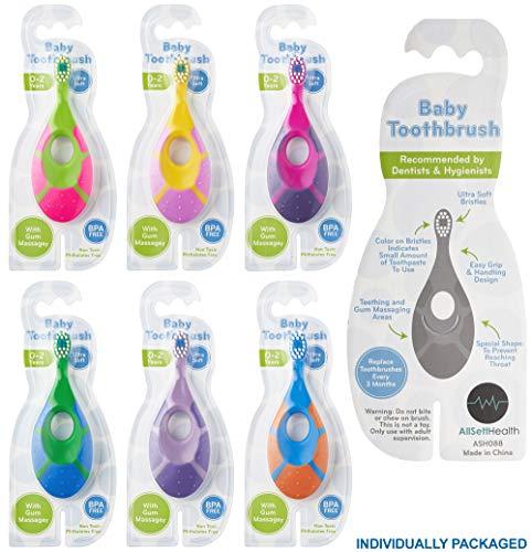 51CKTWMaWYL - 6 Pack - Baby Toothbrush, 0-2 Years, Soft Bristles, BPA Free | Toddler Toothbrush, Infant Toothbrush, Training Toothbrush, Includes Free Toothbrush Holder