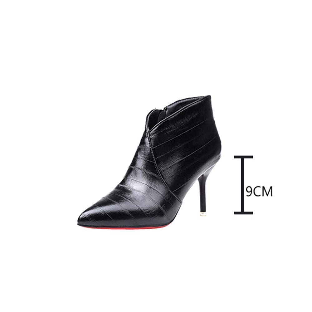 Moontang Stiefel Herbst koreanische Frauen Frauen Frauen Schuhe High Heels dick mit Wilden Damen Stiefeletten (6-8cm), Wasserdichte Plattform Martin Stiefel (Farbe   Schwarz, Größe   38) 050cf5