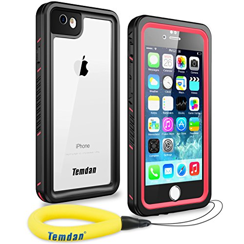 Temdan 33ft/10m Deep Floatable Waterproof Case for iPhone 6/6s(4.7inch) with Kick Stand and Float Strap-PINK/CLEAR