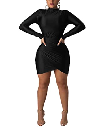 5942bc13155 Image Unavailable. Image not available for. Color  Women s Long Sleeve  Bodycon Dresses - Sexy Ruched Tulip ...