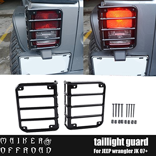 MAIKER Jeep Wrangler Black Rear Tail Light Guards Cover Protector for 2007-2017 Jeep Wrangler Unlimited JK, 1 Pair
