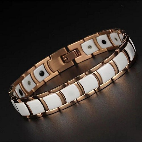 - HiTreasure Rose Gold Tungsten White Ceramic Germanium Magnetic Therapy Bracelet for Men Women Pain Relief Arthritis(Imported,3000 Gauss each Link)