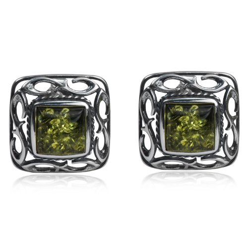 Amber Silver Green Studs - Sterling Silver Green Amber Square Stud Earrings