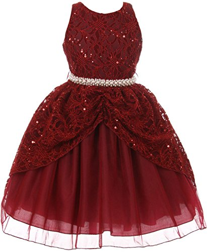 Big Girl Brocade Lace Sequin Pearl Pageant Easter Wedding Flower Girl Dress Burgundy 10 CB 1711 (Brocade Tea Rose)
