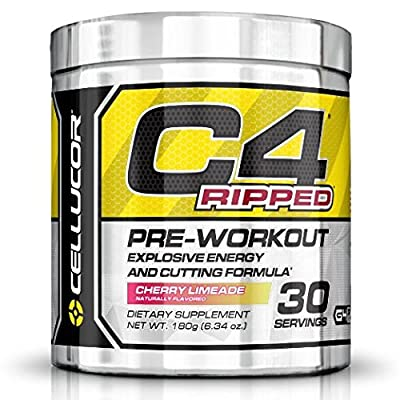 C4 Ripped Preworkout Thermogenic Fat Burner Powder, Preworkout Energy, Weight Loss, 180 g (6.34 oz) , 30 Servings, Cherry Limeade