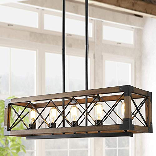 Island Light Fixtures,Rectangular Wood Farmhouse Chandelier for Dining Rooms, 5-Lights Kitchen Island - Wide Island Chandelier