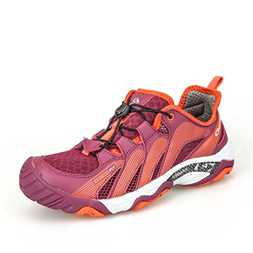 Clorts Women's Water Hiking Shoe Breathable Lightweight Wet-Traction Grip Fuchsia 3H028B US7.5